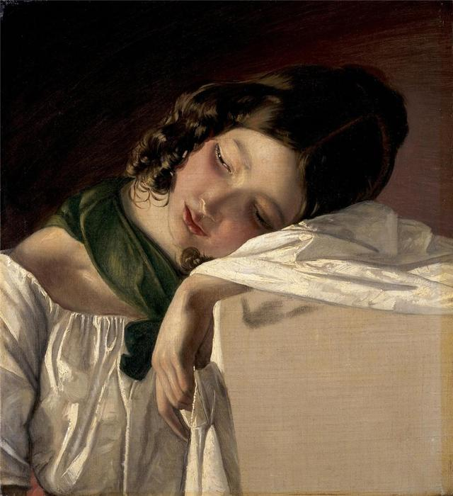Ordinare Copia Pittura : Ragazza, 1834 di Friedrich Ritter Von Amerling (1803-1887) | WahooArt.com
