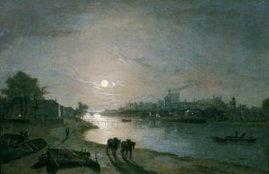Abraham Pether - Castello di Windsor mediante chiaro di luna