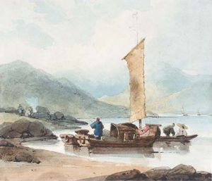 George Chinnery - pescare barche , Macao