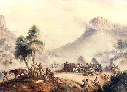 Col . Yarborough's Pattuglia Attaccato in waterkloof di Thomas Baines (1820-1875, United Kingdom)