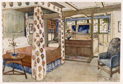 Un camera da letto per una paese casa nel arti e mestieri for Letto stile arti e mestieri