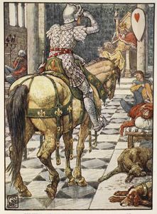 Walter Crane - percival ottiene the shield del Battito Cuore