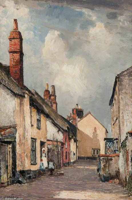 una strada in topsham , Devon di William Page Atkinson Wells (1871-1923, United Kingdom) | Riproduzioni Di Quadri Famosi | WahooArt.com