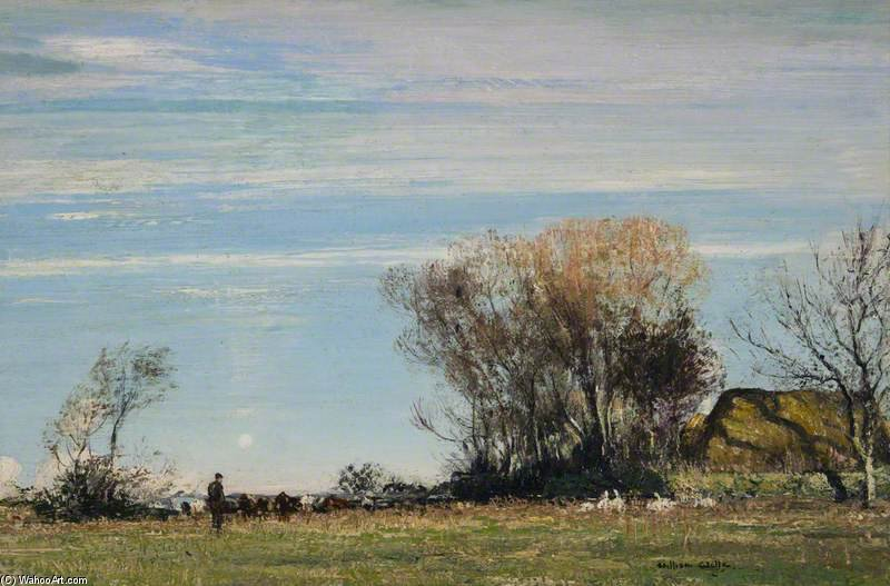 A Sunny Meadow di William Page Atkinson Wells (1871-1923, United Kingdom)