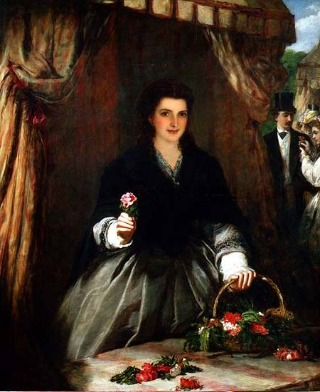 Il Venditore Flower - di William Powell Frith (1819-1909, United Kingdom) | Riproduzioni Di Quadri Famosi | WahooArt.com