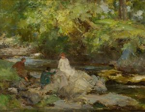 William Stewart Macgeorge - tre figure di un fiume