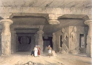 William Westall - interno del Gran bretagna temple cave Di Elephanta