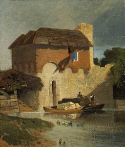 John Sell Cotman - edifici On Un  Fiume