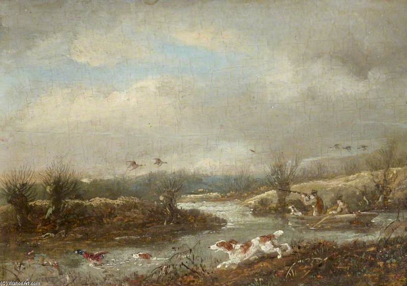 Duck-shooting da un Barchino di Samuel John Egbert Jones (1797-1861, United Kingdom)