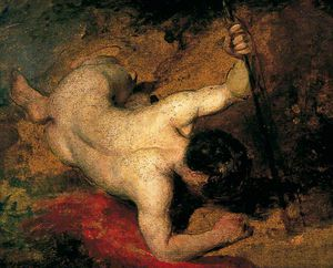 William Etty - Reclining Male Nude Con Il Germoglio