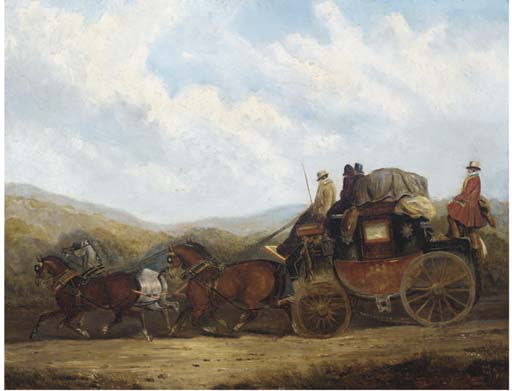 Londra verso Dorking Coach; And The London, Gloucester, Hereford e Aberystwyth Coach di Charles Cooper Henderson (1803-1877, United Kingdom) | Stampe D'arte Su Tela | WahooArt.com