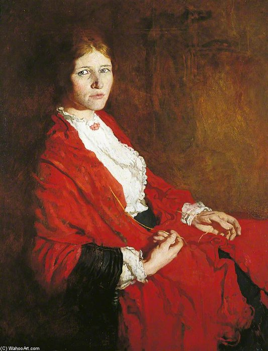 il rosso sciarpa  di William Newenham Montague Orpen (1878-1931, Ireland)