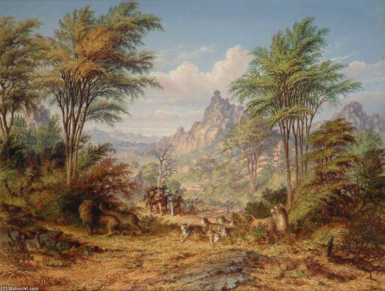 Lion famiglia amongs He Granite colline tra il Shasha E Macloutse Rivers di Thomas Baines (1820-1875, United Kingdom) | Copia Pittura | WahooArt.com