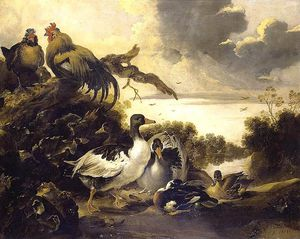 Gijsbert Gillisz De Hondecoeter (The Younger) - Fowl On A Riverbank