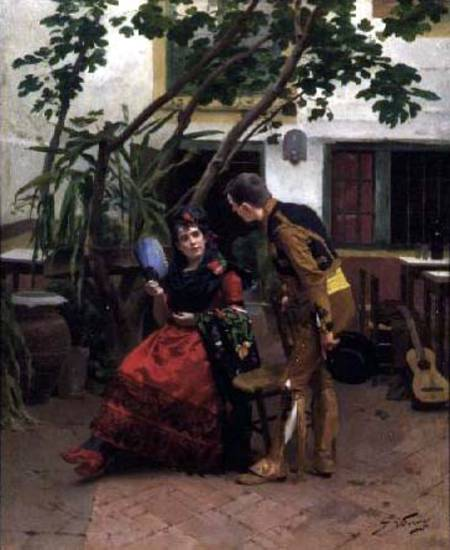Il Suitor spagnola di Jules Worms (1832-1924, France)