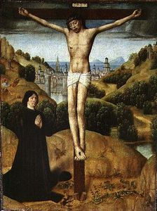 Master Of The Legend Of Saint Ursula - cristo sul croce con una `donor`