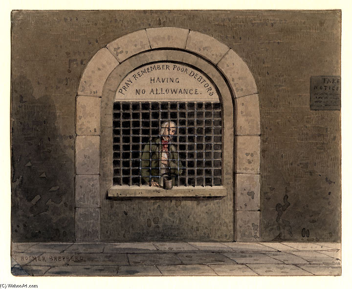 Un debitore in fleet street prison Ths di Thomas Hosmer Shepherd (1792-1864, United Kingdom) | Copia Pittura | WahooArt.com