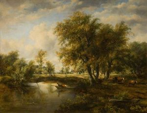 Frederick Waters (William) Watts - paesaggio con una flusso