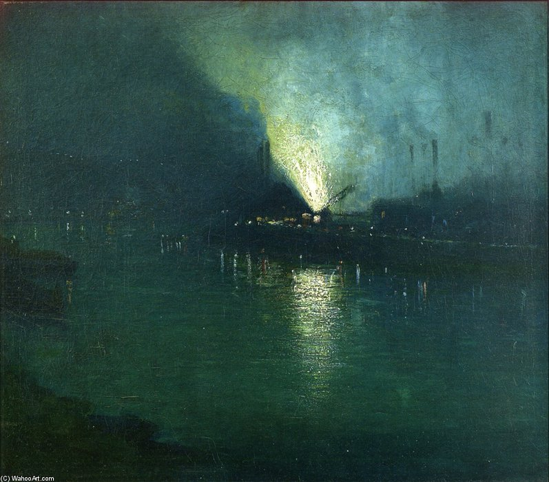 Acciaio Mills - Nocturne, Pittsburgh di Aaron Harry Gorson (1872-1933, Lithuania) | Copia Pittura | WahooArt.com