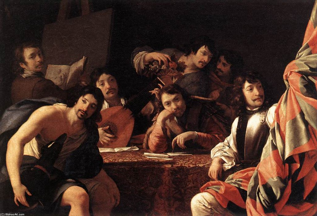 Un raccolta  di  amici  di Brother Lesueur (Eustache Le Sueur) (1616-1655, France)