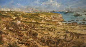 Ordinare Riproduzioni D'arte | The Landing Gallipoli di Charles Edward Dixon (1872-1934, United Kingdom) | WahooArt.com
