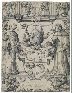 Christoph Murer - Disegno Of Un Stained-glass pannello con il cappotto Of Braccia Of Herald Zurlauben