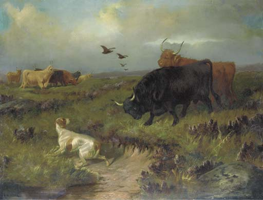 Highland Cattle, Con Un setter e Grouse On The Moor di Colin Graeme Roe (1858-1910, United Kingdom)