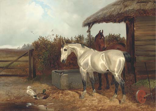Cavalli al Trough di Colin Graeme Roe (1858-1910, United Kingdom) | WahooArt.com