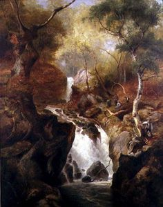 Edward Henry Holder - cascata attraverso  Un  bosco