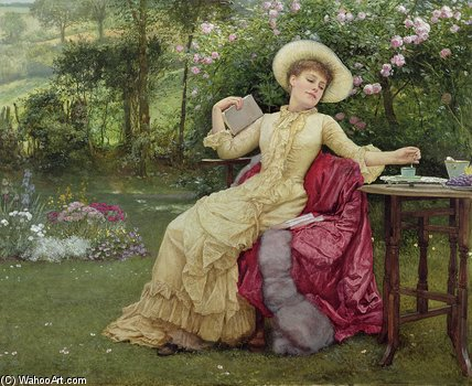 bere caffè e le  Lettura  di Edward Killingworth Johnson (1825-1896, United Kingdom) | Copia Pittura | WahooArt.com