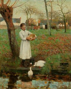 Edward William Stott - Mangiare alle anatre