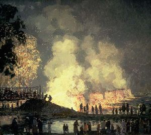 Edward Willis Redfield - l'incendio di  al centro  ponte