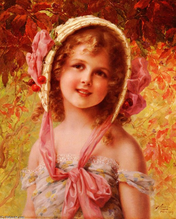 The Cherry Bonnet di Emile Vernon (1872-1920, France) | Copia Pittura | WahooArt.com