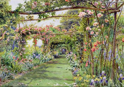 The Rose Pergola di Ernest Arthur Rowe (1863-1922, United Kingdom)