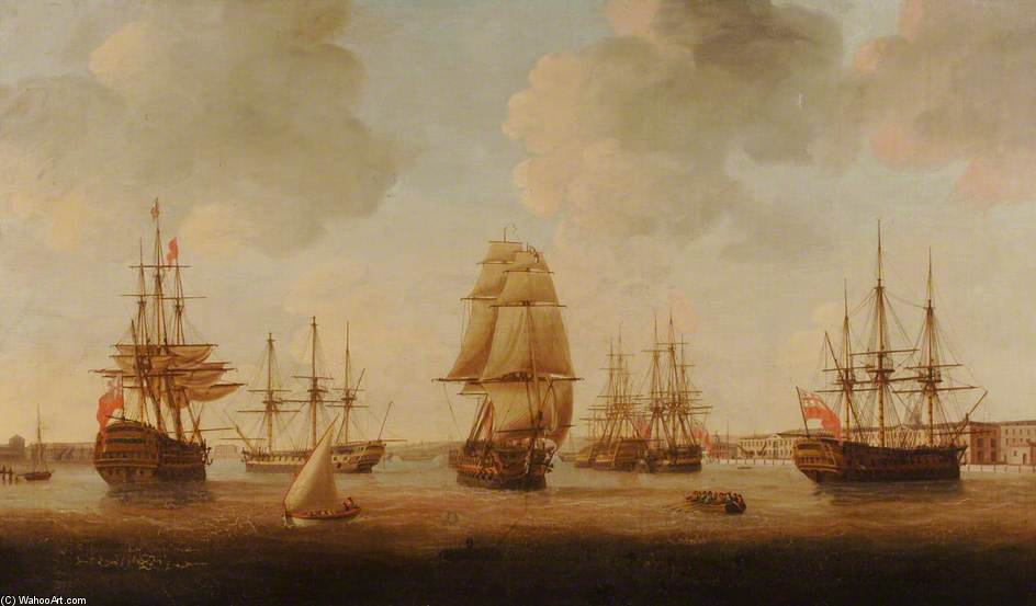 Portsmouth Porto all'alta Marea di John Thomas Serres (1759-1825, United Kingdom)