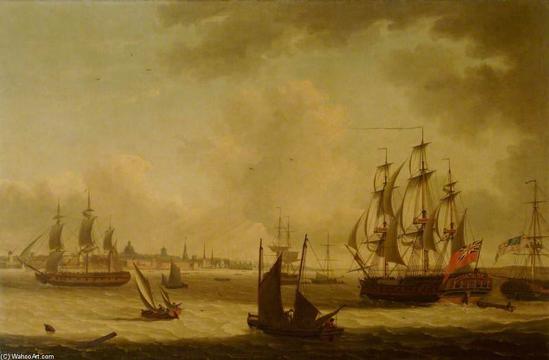 La perla Fregata Off Liverpool di John Thomas Serres (1759-1825, United Kingdom)
