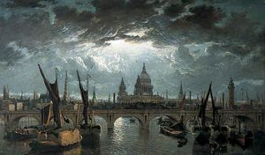 William Anderson - londra ponte e san `paul's` di chiaro di luna