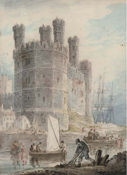 Caernarvon Castello il Galles  di William Payne (1760-1830, United Kingdom)