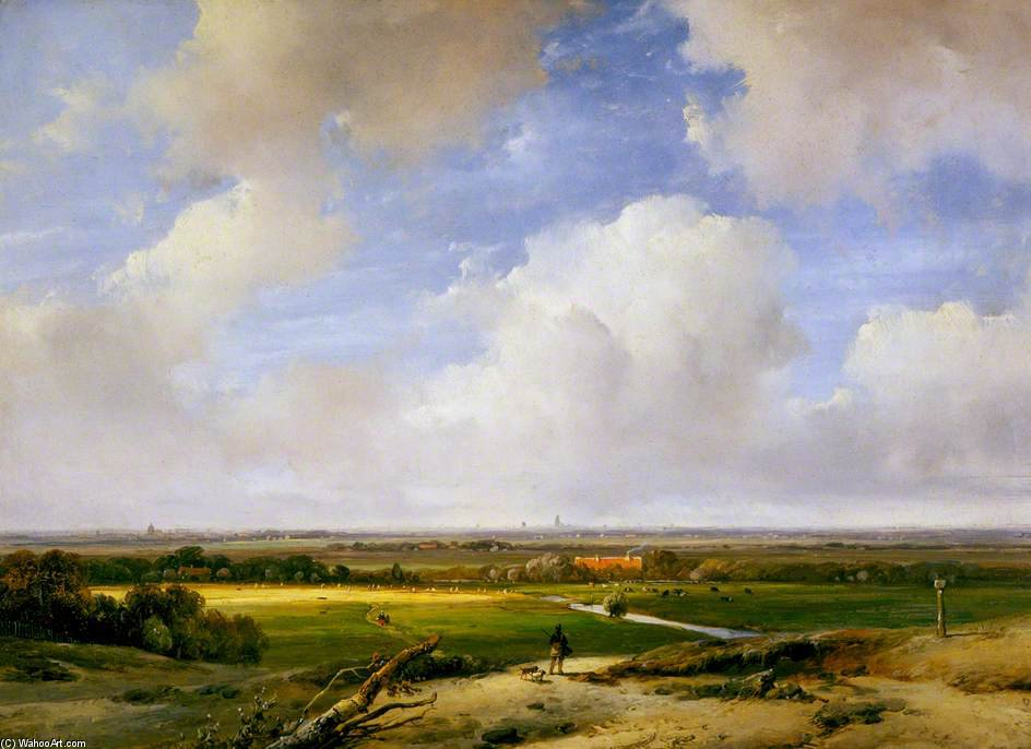 paesaggio vicino Haarlem di Andreas Schelfhout (1787-1870, Netherlands)