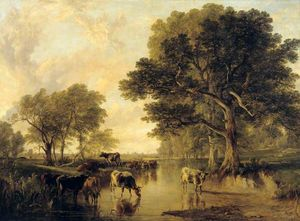 Frederick Richard Lee - Evening In The Meadows (bovini da Thomas Sidney Cooper)