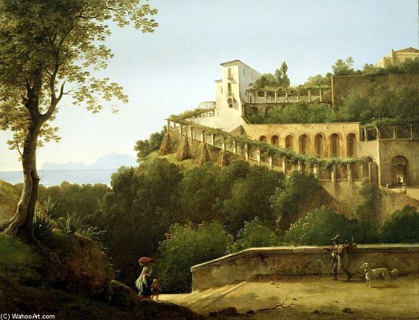 un convento in provincia di napoli con una veduta di capri di pierre athanase chauvin 1774 1832. Black Bedroom Furniture Sets. Home Design Ideas