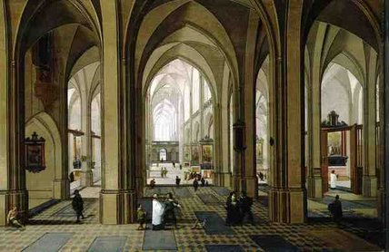 gotico Chiesa  interni  di Peeter Neeffs The Elder (1614-1652, Belgium)