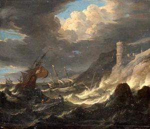 Pieter The Younger Holsteyn - spedizione off Un  roccioso  litorale  come  Tempesta