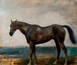 Alfred James Munnings - Un scuro  Baia  cacciatore