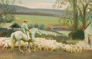 Alfred James Munnings - Portando casa Pecore , Withypool , Exmoor