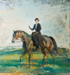 Alfred James Munnings - lady munnings in sella a una Baia Cacciatore
