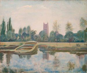 Alfred James Munnings - stour a dedham con chiatte