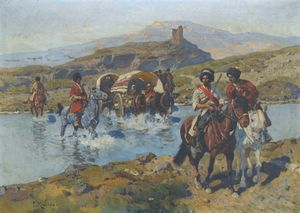 Franz Roubaud - Cosacchi Crossing A Ford