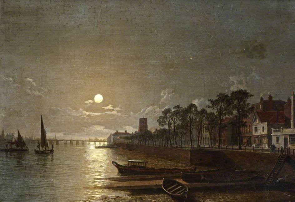 Chelsea al chiaro di luna di Henry Pether (1828-1865, United Kingdom)