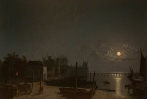 Henry Pether - Westminster dal cavallo-traghetto Quay By Moonlight
